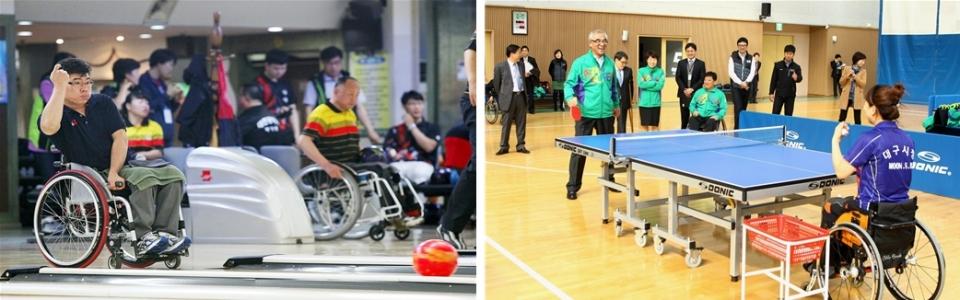 탁구, 볼링 등 생활체육을 즐기는 장애인들의 모습.